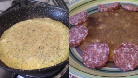 Frittata pancake senza olio: ideale per una cenetta veloce e saporita