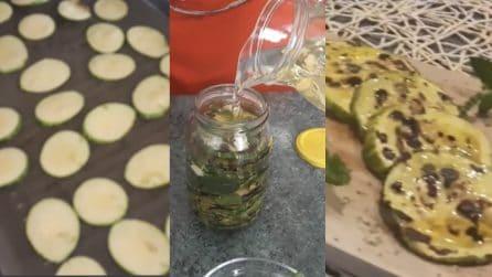 Zucchine grigliate e sott'olio: ottime e ideali per accompagnare le bruschette
