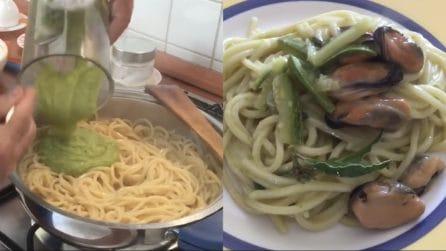 Spaghetti con crema di zucchine e cozze: un primo piatto da acquolina in bocca