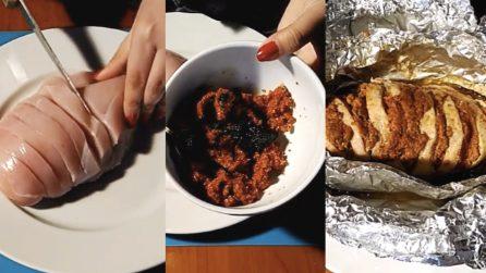 Pollo al cartoccio con mandorle e pomodori secchi: il secondo piatto da provare