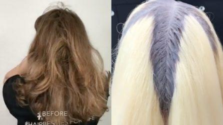 Si presenta con capelli spenti e rovinati: dopo il colore cambia tutto
