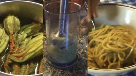 Spaghetti con crema di fiori di zucca: un primo piatto squisito e cremoso