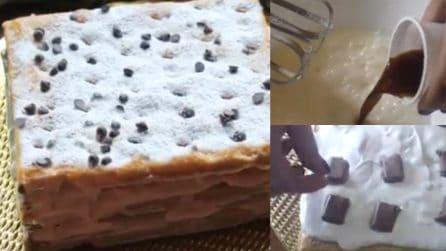 Millefoglie con crema di caffè e cioccolato: il dessert pronto in pochi minuti