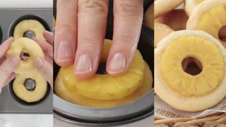 Mette l'ananas sulla ciambella di frolla: biscotti deliziosi che finiranno in pochi minuti