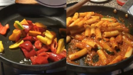 Tortiglioni con salsa ai peperoni: un primo piatto cremoso e buonissimo