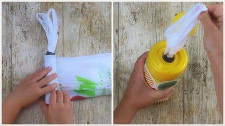 Come riorganizzare le tue buste di plastica: il trucchetto