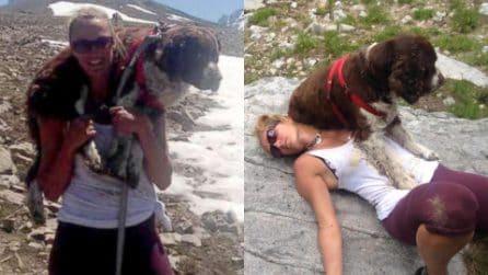Porta sulle spalle un cane di 25 chili per 6 ore. Il coraggio di Tia Vargas gli ha salvato la vita