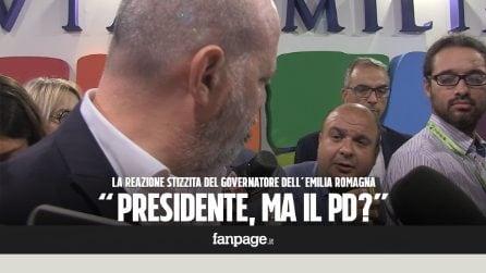 """""""Presidente, un commento sul PD..."""": il Governatore dell'Emilia Romagna non risponde e va via stizzito"""