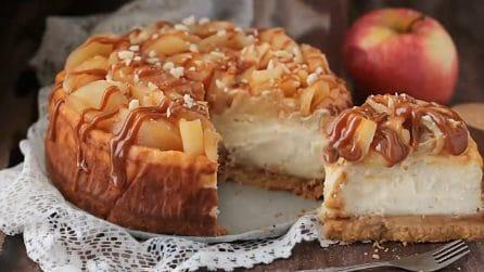 Cheesecake alle mele e caramello: una torta fredda da gustare le sere d'estate