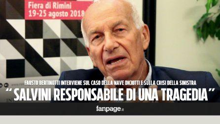 """Bertinotti: """"Con la Diciotti Salvini si rende responsabile di una tragedia, da italiano mi vergogno"""""""