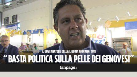 """Crollo ponte Genova, Toti: """"Questa tragedia deve avere dei colpevoli, il governo non faccia politica sulla pelle dei genovesi"""""""