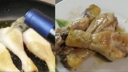 Pollo in padella sfumato con vino bianco: il secondo piatto succulento e veloce