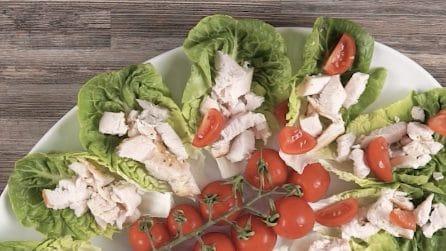 Cestini ripieni di lattuga: l'idea originale per servire il pollo!