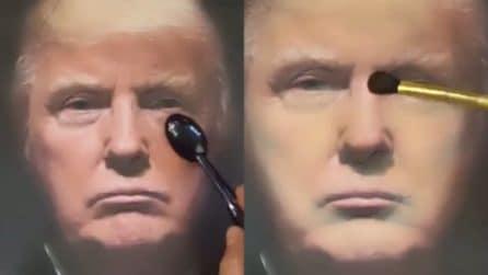 Inizia a truccare un'immagine di Trump: non immaginerete in chi lo trasforma