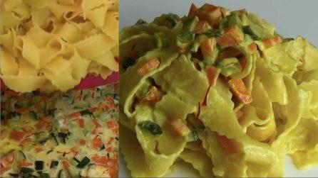 Pappardelle cremose con verdure croccanti: il primo piatto saporito