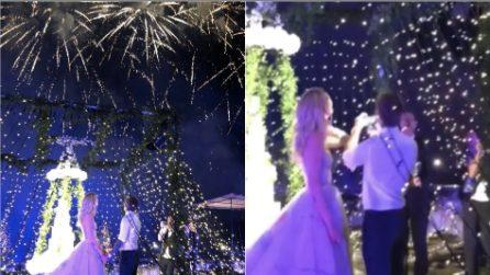 Matrimonio Ferragnez, romantica sorpresa durante la cena: la magia dello spettacolo pirotecnico