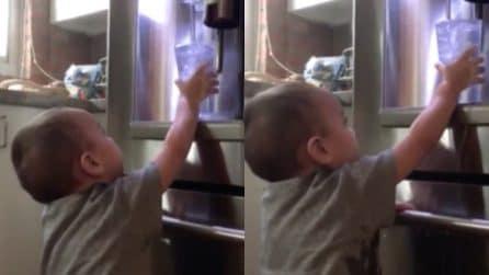 Il bambino riempie un po' troppo il bicchiere, ma non riesce a sollevarlo: le immagini esilaranti