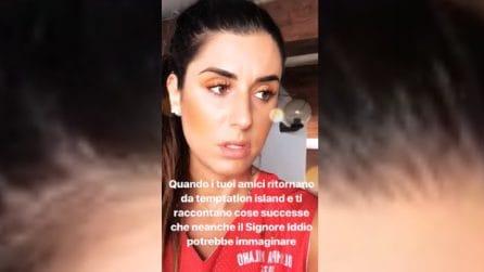 Il messaggio e l'espressione di Valentina Vignali su Nilufar e Giordano