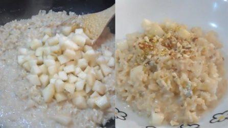 Risotto pere, gorgonzola e noci: il primo piatto cremoso e squisito