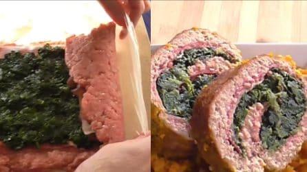 Polpettone ripieno con spinaci e prosciutto: il secondo piatto che vi conquisterà