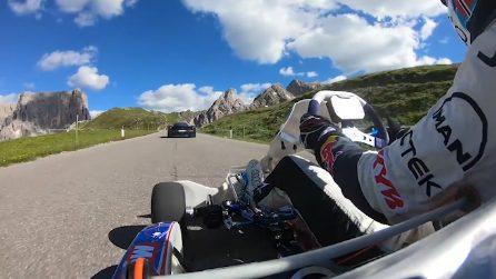 Go kart vs Ferrari: l'elettrizzante corsa sulle Dolomiti