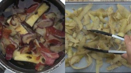 Non buttate via le bucce di mele e patate: ecco come riciclarle in maniera golosa