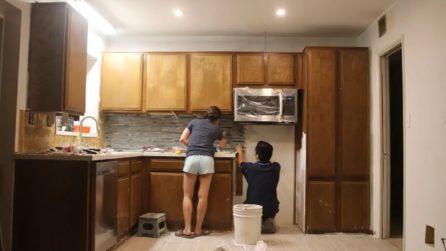 Cucina vecchia e disordinata: la bellissima trasformazione in meno di un minuto
