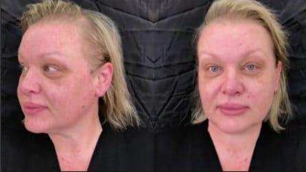 Dopo il make up la donna è irriconoscibile: il cambio look la ringiovanisce completamente