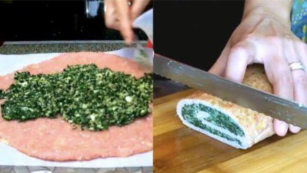 Polpettone di pollo con mozzarella e spinaci: il secondo piatto da acquolina in bocca