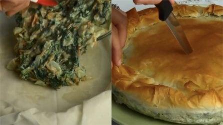 Torta salata di pasta fillo: leggera, gustosa e veloce