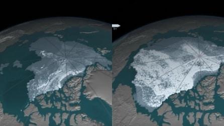 Artico, lo scioglimento del ghiaccio marino perenne dal 1984 al 2016: l'allarme lanciato dalla Nasa