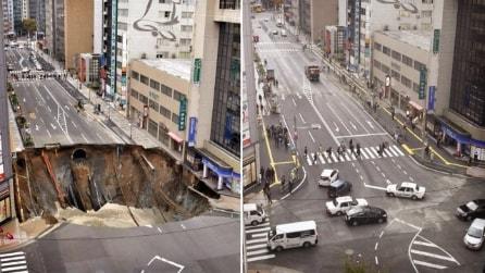 Si apre una voragine di 30 metri in una delle strade principali della città. La riparano in 7 giorni.