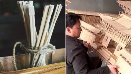 Cina, 30mila bacchette e niente colla: artista le ricicla e costruisce un tempio in miniatura