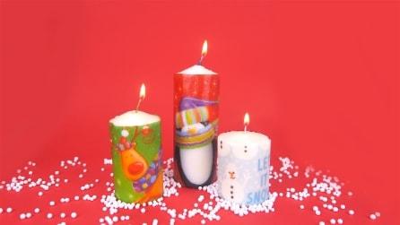 Come personalizzare le candele con i tovaglioli di Natale