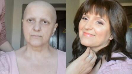 Donna malata di cancro ha perso capelli e sopracciglia: il make up operato da sua figlia è straordinario