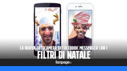 La nuova fotocamera di Facebook Messenger con i filtri di Natale
