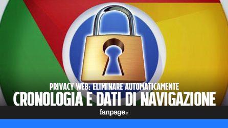 Privacy web: eliminare la cronologia e i dati di navigazione di Chrome automaticamente
