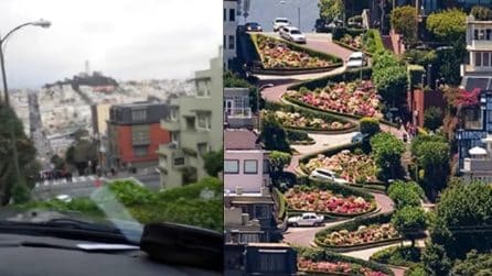 Scende dalla tortuosa Lombard Street di San Francisco: il video che fa venire il mal di testa