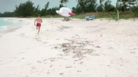 Il vento è troppo forte e il materassino vola via: disavventure in spiaggia