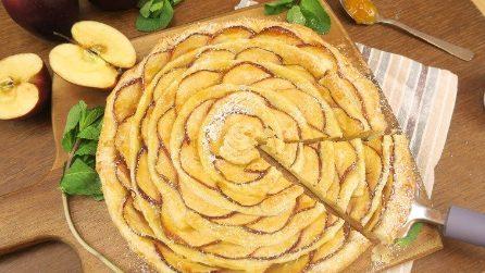 Centinaia di fettine di mele sovrapposte: quello che prepara