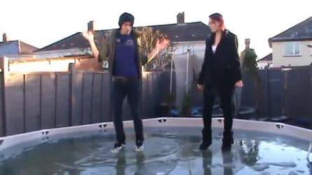 Ballano sulla piscina ghiacciata: la performance divertente dei ragazzi