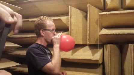 Buca un palloncino nella camera attrezzata per la riflessione del suono: il rumore è stranissimo
