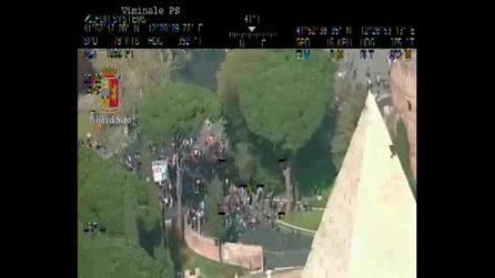 Manifestazione Roma: il corteo visto dall'elicottero della polizia