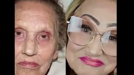 Trucca la nonna 81enne e la trasforma completamente: il risultato è sbalorditivo