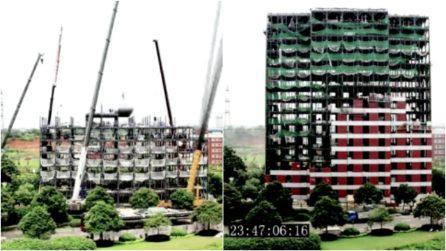 Cina, costruiscono l'hotel in 2 giorni: il time-lapse mostra l'impresa da record