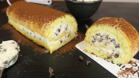 Chocolate chip ricotta cream roll-up: an easy to prepare, delicious dessert!