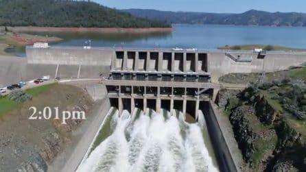 Il canale si riempie d'acqua: la diga più alta della California