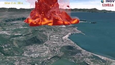 Eruzione ai Campi Flegrei: una spettacolare simulazione dell'Ingv