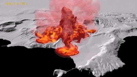 Napoli, simulazione dell'eruzione della caldera dei Campi Flegrei
