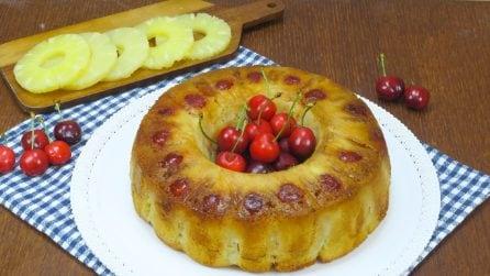Ciambella rovesciata all'ananas e ciliegie: il dolce originale, facile e goloso!